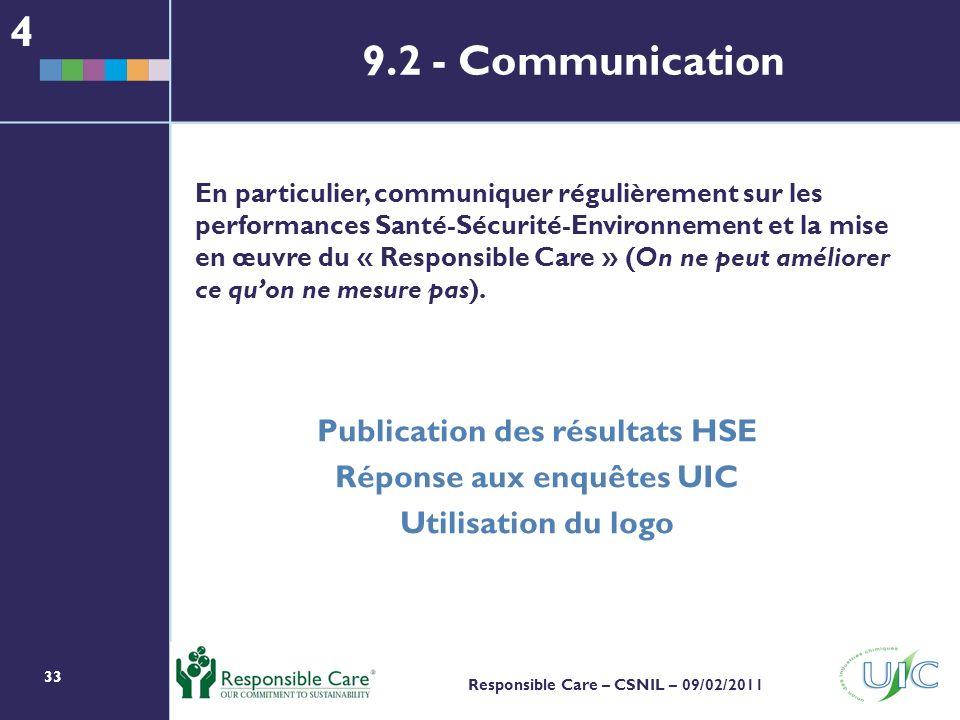 33 Responsible Care – CSNIL – 09/02/2011 En particulier, communiquer régulièrement sur les performances Santé-Sécurité-Environnement et la mise en œuvre du « Responsible Care » (On ne peut améliorer ce quon ne mesure pas).