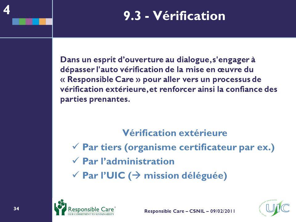 34 Responsible Care – CSNIL – 09/02/2011 Dans un esprit douverture au dialogue, s engager à dépasser l auto vérification de la mise en œuvre du « Responsible Care » pour aller vers un processus de vérification extérieure, et renforcer ainsi la confiance des parties prenantes.