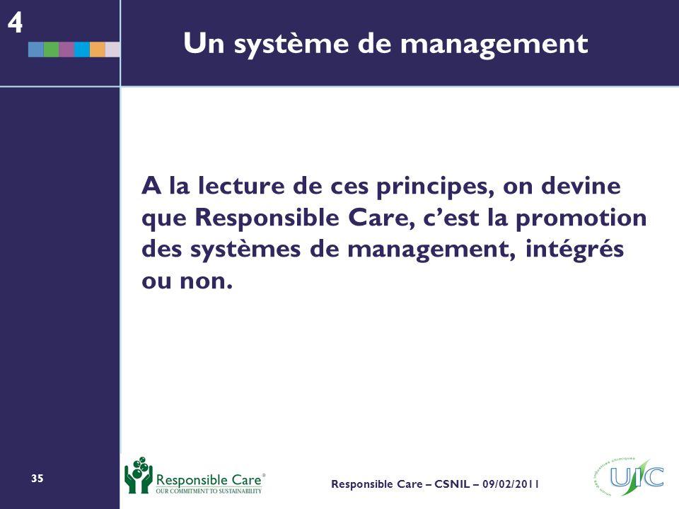 35 Responsible Care – CSNIL – 09/02/2011 A la lecture de ces principes, on devine que Responsible Care, cest la promotion des systèmes de management, intégrés ou non.