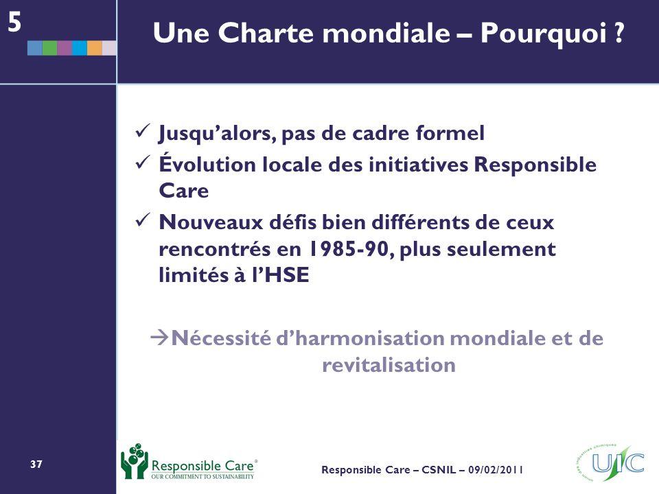 37 Responsible Care – CSNIL – 09/02/2011 Jusqualors, pas de cadre formel Évolution locale des initiatives Responsible Care Nouveaux défis bien différents de ceux rencontrés en 1985-90, plus seulement limités à lHSE Nécessité dharmonisation mondiale et de revitalisation 5 Une Charte mondiale – Pourquoi ?