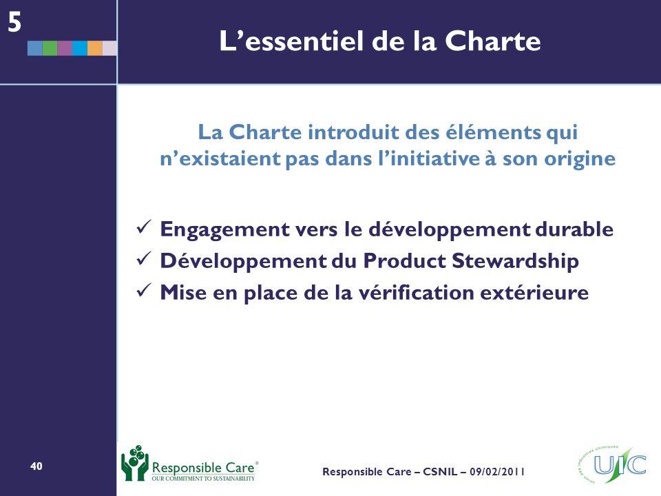 40 Responsible Care – CSNIL – 09/02/2011 Engagement vers le développement durable Développement du Product Stewardship Mise en place de la vérification extérieure Lessentiel de la Charte 5 La Charte introduit des éléments qui nexistaient pas dans linitiative à son origine