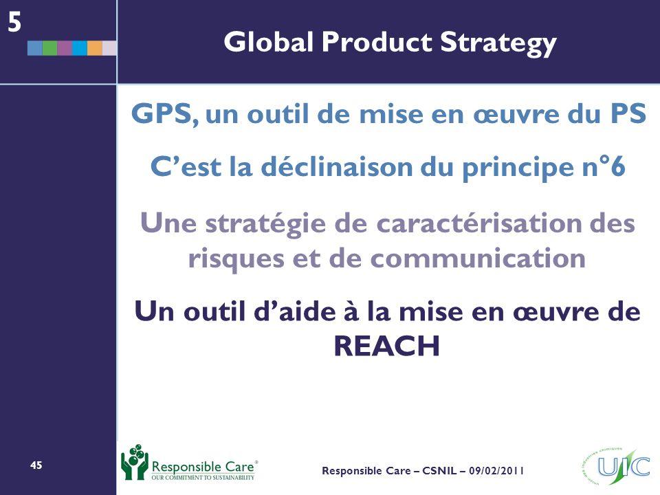 45 Responsible Care – CSNIL – 09/02/2011 Un outil daide à la mise en œuvre de REACH GPS, un outil de mise en œuvre du PS Cest la déclinaison du principe n°6 Une stratégie de caractérisation des risques et de communication 5 Global Product Strategy