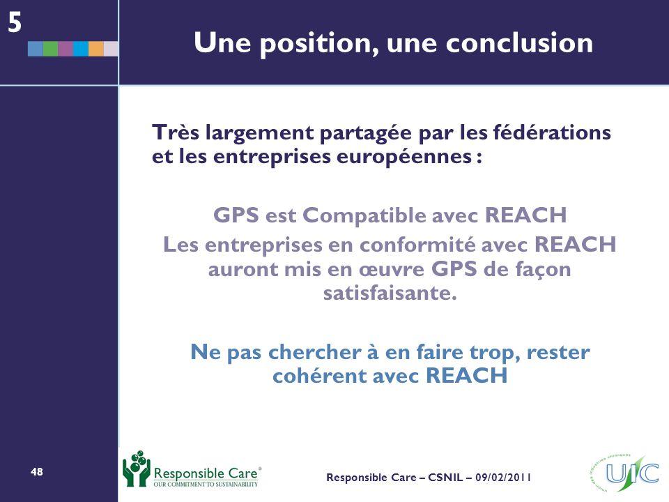 48 Responsible Care – CSNIL – 09/02/2011 Une position, une conclusion Très largement partagée par les fédérations et les entreprises européennes : GPS est Compatible avec REACH Les entreprises en conformité avec REACH auront mis en œuvre GPS de façon satisfaisante.