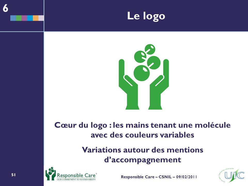 51 Responsible Care – CSNIL – 09/02/2011 Le logo Cœur du logo : les mains tenant une molécule avec des couleurs variables Variations autour des mentions daccompagnement 6