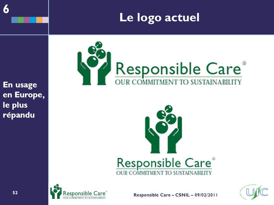 52 Responsible Care – CSNIL – 09/02/2011 Le logo actuel 6 En usage en Europe, le plus répandu