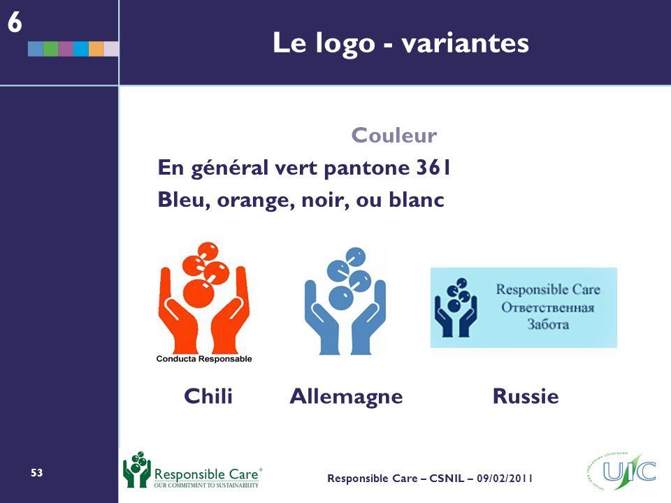 53 Responsible Care – CSNIL – 09/02/2011 Le logo - variantes Couleur En général vert pantone 361 Bleu, orange, noir, ou blanc ChiliAllemagneRussie 6