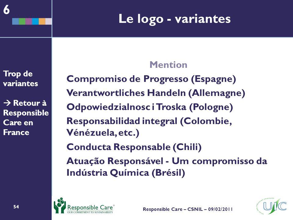 54 Responsible Care – CSNIL – 09/02/2011 Le logo - variantes Mention Compromiso de Progresso (Espagne) Verantwortliches Handeln (Allemagne) Odpowiedzialnosc i Troska (Pologne) Responsabilidad integral (Colombie, Vénézuela, etc.) Conducta Responsable (Chili) Atuação Responsável - Um compromisso da Indústria Química (Brésil) 6 Trop de variantes Retour à Responsible Care en France