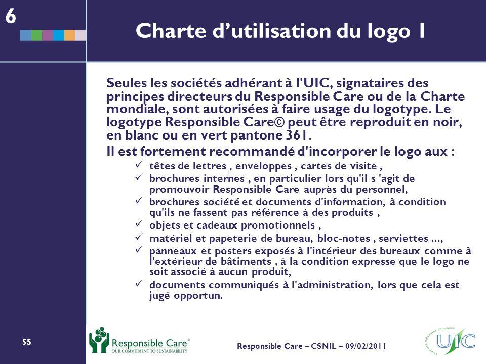 55 Responsible Care – CSNIL – 09/02/2011 Seules les sociétés adhérant à l UIC, signataires des principes directeurs du Responsible Care ou de la Charte mondiale, sont autorisées à faire usage du logotype.