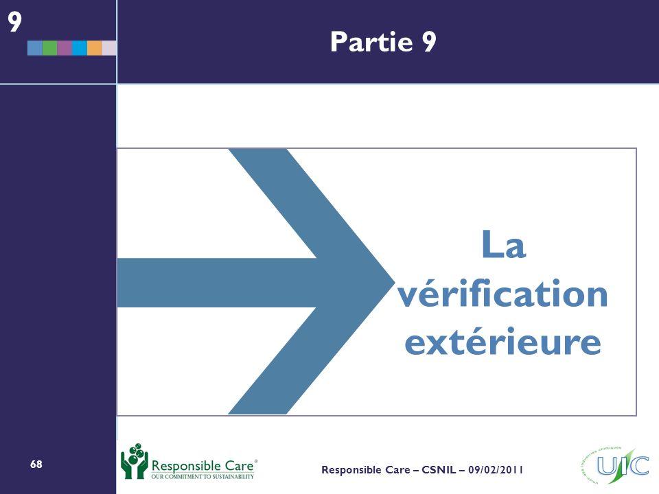 68 Responsible Care – CSNIL – 09/02/2011 La vérification extérieure 9 Partie 9