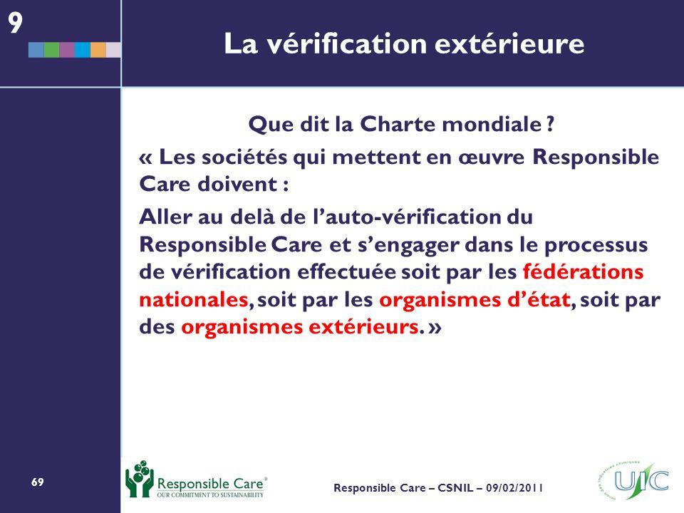 69 Responsible Care – CSNIL – 09/02/2011 Que dit la Charte mondiale .