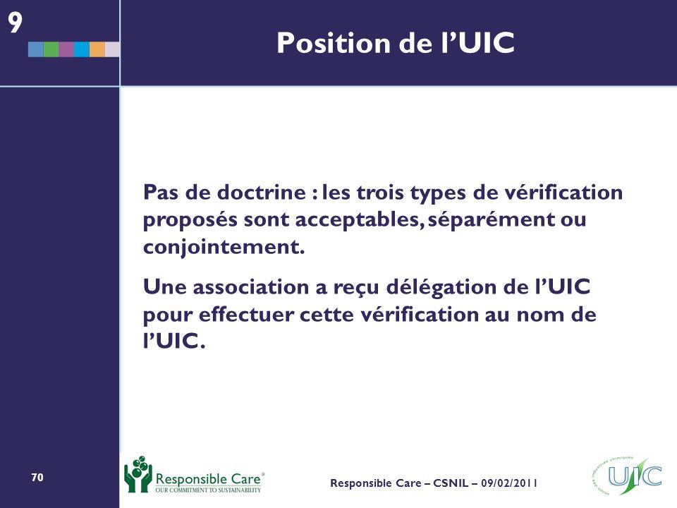 70 Responsible Care – CSNIL – 09/02/2011 Position de lUIC Pas de doctrine : les trois types de vérification proposés sont acceptables, séparément ou conjointement.