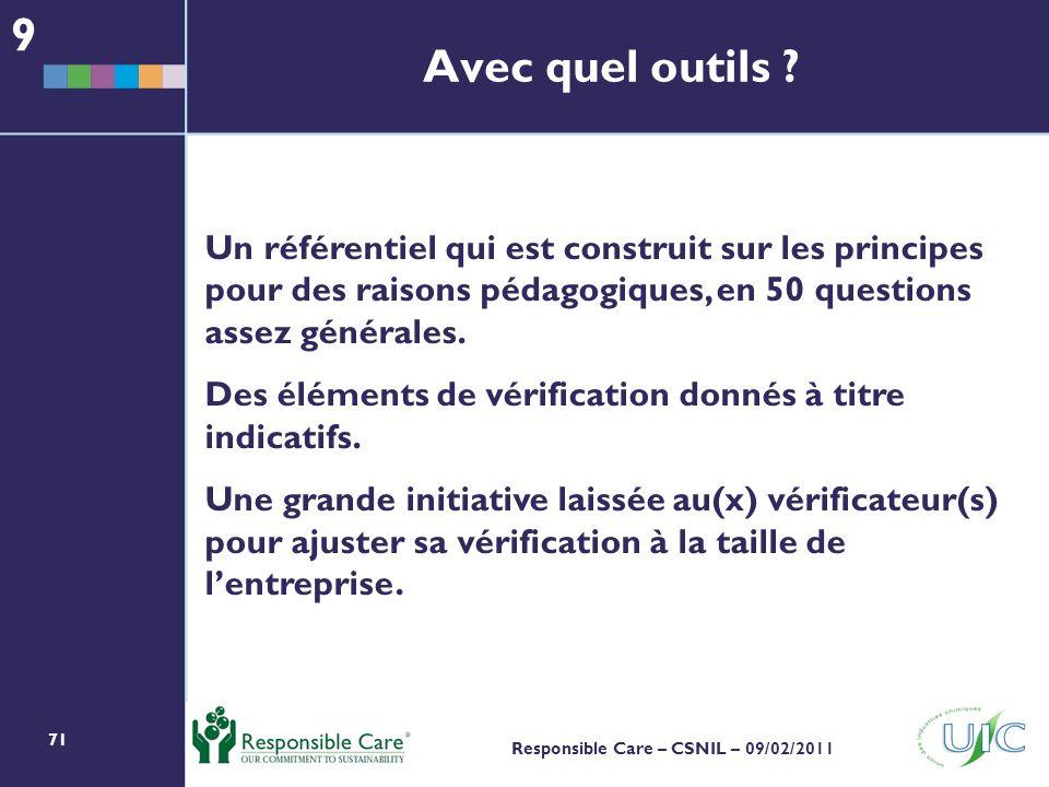 71 Responsible Care – CSNIL – 09/02/2011 Avec quel outils .