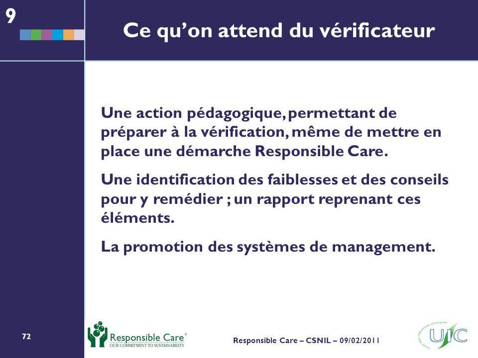 72 Responsible Care – CSNIL – 09/02/2011 Ce quon attend du vérificateur Une action pédagogique, permettant de préparer à la vérification, même de mettre en place une démarche Responsible Care.