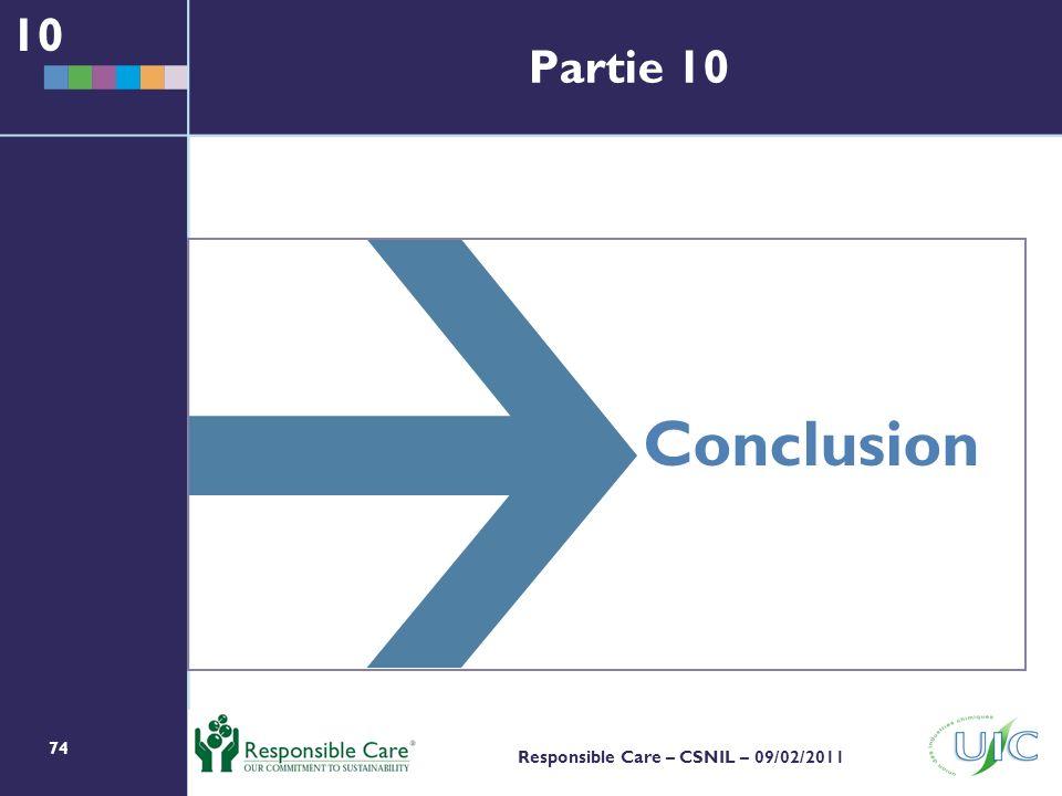 74 Responsible Care – CSNIL – 09/02/2011 Conclusion 10 Partie 10