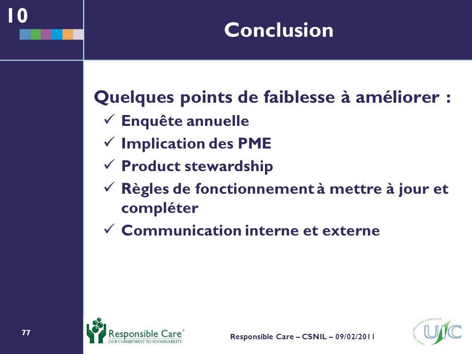 77 Responsible Care – CSNIL – 09/02/2011 Conclusion Quelques points de faiblesse à améliorer : Enquête annuelle Implication des PME Product stewardship Règles de fonctionnement à mettre à jour et compléter Communication interne et externe 10