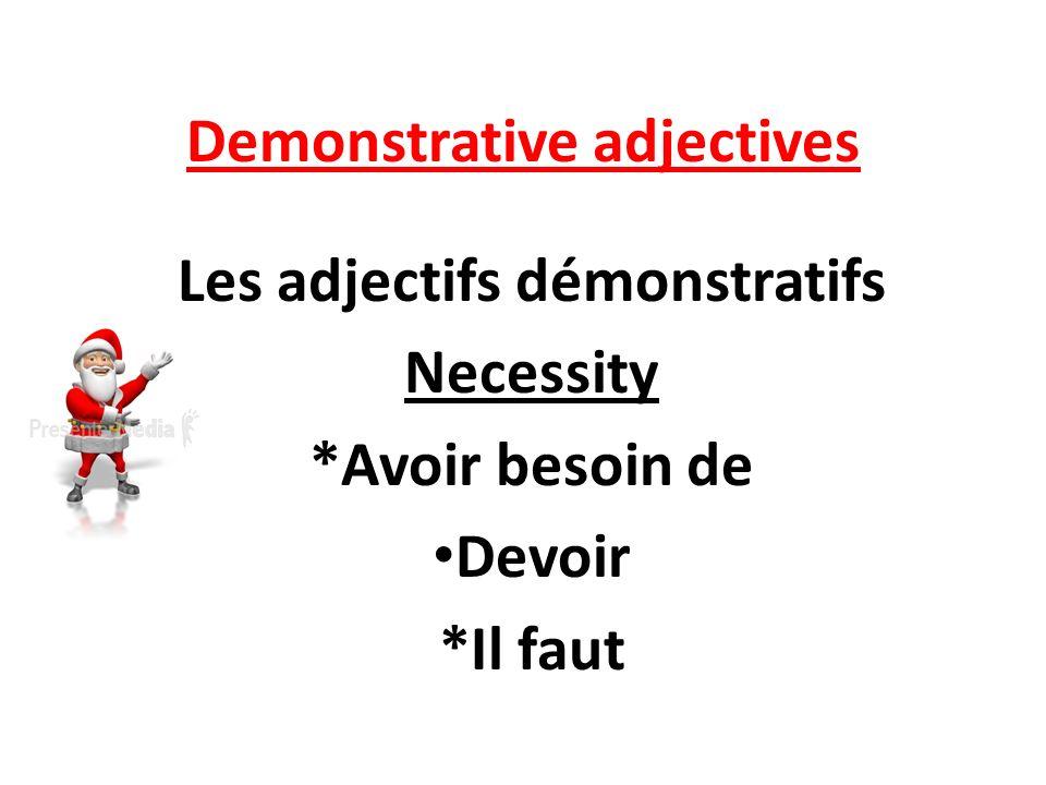 Demonstrative adjectives Les adjectifs démonstratifs Necessity *Avoir besoin de Devoir *Il faut