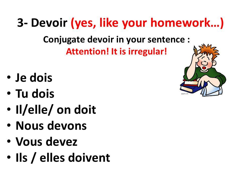 3- Devoir (yes, like your homework…) Conjugate devoir in your sentence : Attention! It is irregular! Je dois Tu dois Il/elle/ on doit Nous devons Vous
