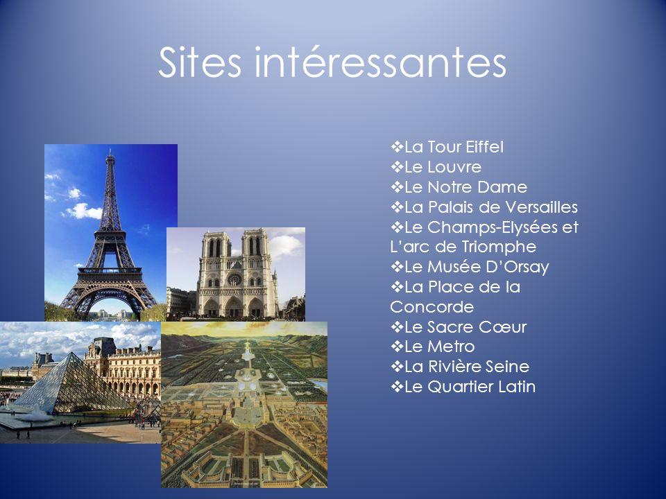 Sites intéressantes La Tour Eiffel Le Louvre Le Notre Dame La Palais de Versailles Le Champs-Elysées et Larc de Triomphe Le Musée DOrsay La Place de l