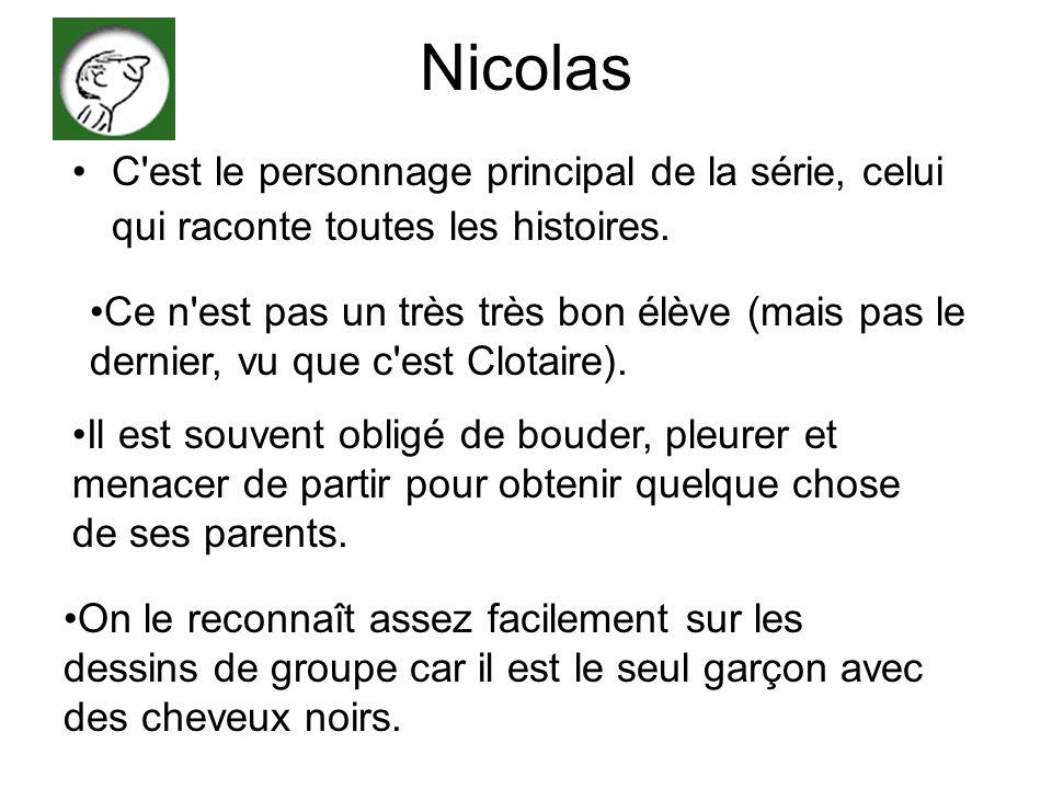 Nicolas C'est le personnage principal de la série, celui qui raconte toutes les histoires. Ce n'est pas un très très bon élève (mais pas le dernier, v