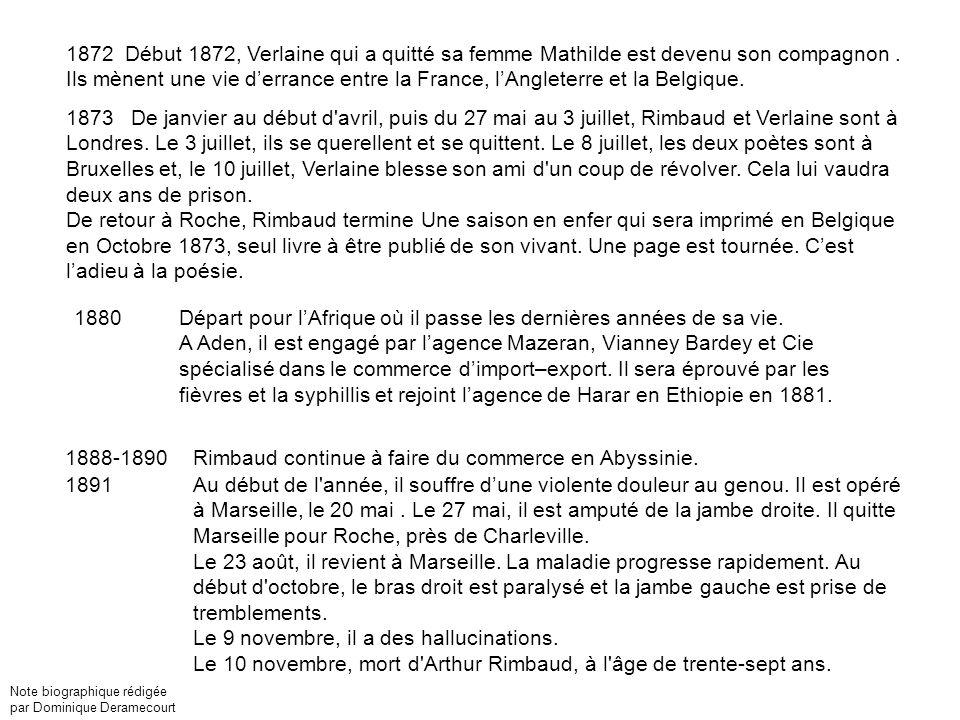 1872 Début 1872, Verlaine qui a quitté sa femme Mathilde est devenu son compagnon.