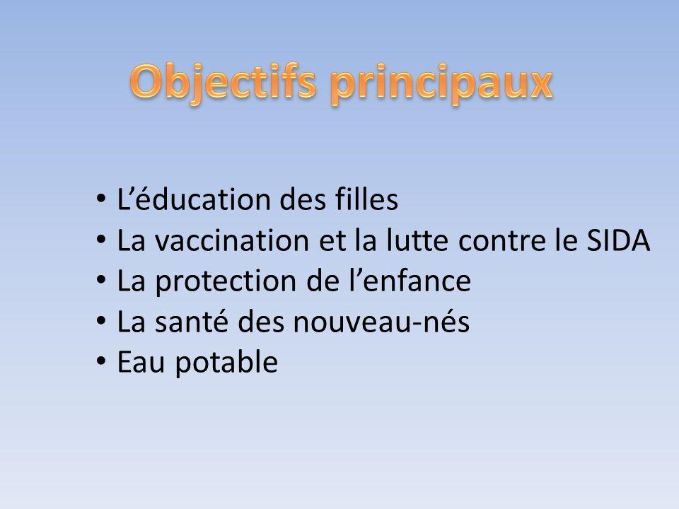 Léducation des filles La vaccination et la lutte contre le SIDA La protection de lenfance La santé des nouveau-nés Eau potable
