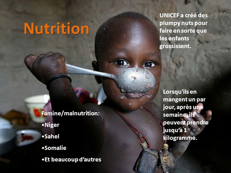 UNICEF a créé des plumpy nuts pour faire en sorte que les enfants grossissent. Famine/malnutrition: Niger Sahel Somalie Et beaucoup dautres Lorsqu'ils