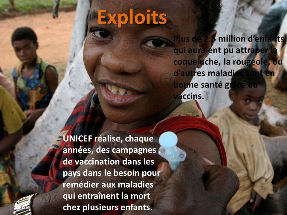 UNICEF réalise, chaque années, des campagnes de vaccination dans les pays dans le besoin pour remédier aux maladies qui entraînent la mort chez plusie