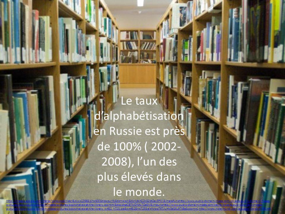 Le taux dalphabétisation en Russie est près de 100% ( 2002- 2008), lun des plus élevés dans le monde. http://images.google.com/imgres?q=books&hl=en&bi