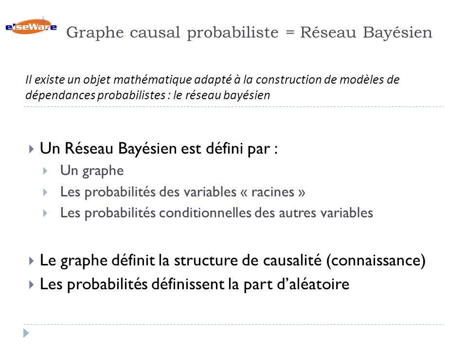 Graphe causal probabiliste = Réseau Bayésien Un Réseau Bayésien est défini par : Un graphe Les probabilités des variables « racines » Les probabilités conditionnelles des autres variables Le graphe définit la structure de causalité (connaissance) Les probabilités définissent la part daléatoire Il existe un objet mathématique adapté à la construction de modèles de dépendances probabilistes : le réseau bayésien