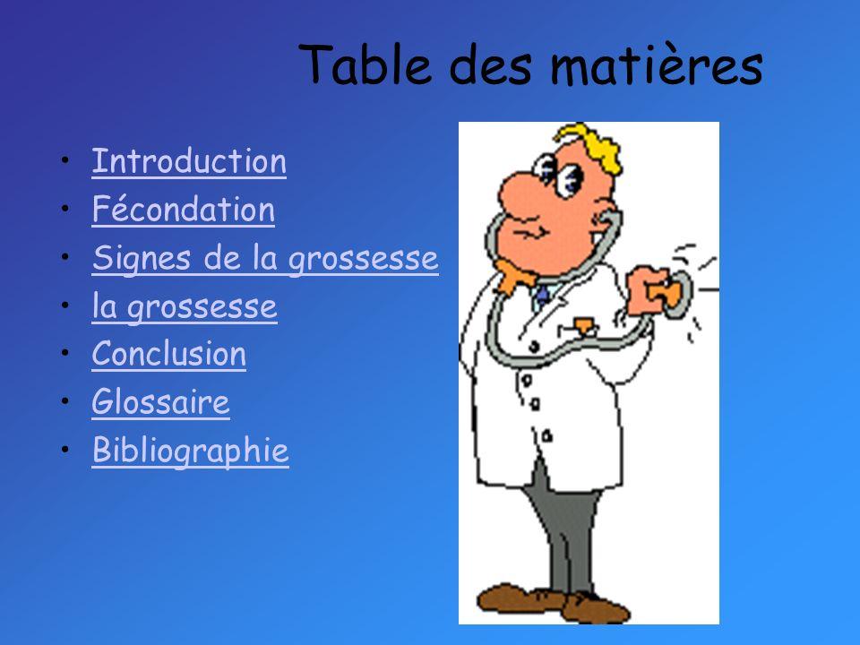 Table des matières Introduction Fécondation Signes de la grossesse la grossesse Conclusion Glossaire Bibliographie