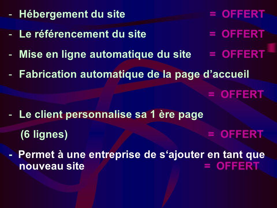 -Hébergement du site = OFFERT -Le référencement du site = OFFERT -Mise en ligne automatique du site = OFFERT -Fabrication automatique de la page daccueil = OFFERT -Le client personnalise sa 1 ère page (6 lignes) = OFFERT - Permet à une entreprise de sajouter en tant que nouveau site = OFFERT