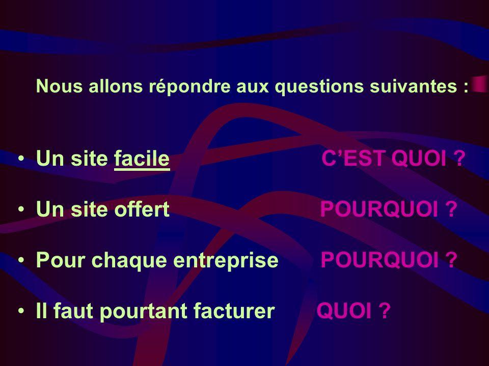 Nous allons répondre aux questions suivantes : Un site facile CEST QUOI .