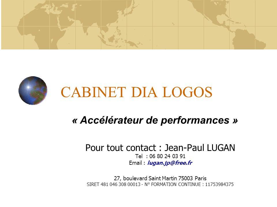 CABINET DIA LOGOS Pour tout contact : Jean-Paul LUGAN Tel : 06 80 24 03 91 Email : lugan.jp@free.fr 27, boulevard Saint Martin 75003 Paris SIRET 481 0