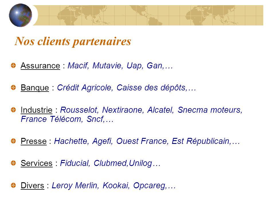 Nos clients partenaires Assurance : Macif, Mutavie, Uap, Gan,… Banque : Crédit Agricole, Caisse des dépôts,… Industrie : Rousselot, Nextiraone, Alcate