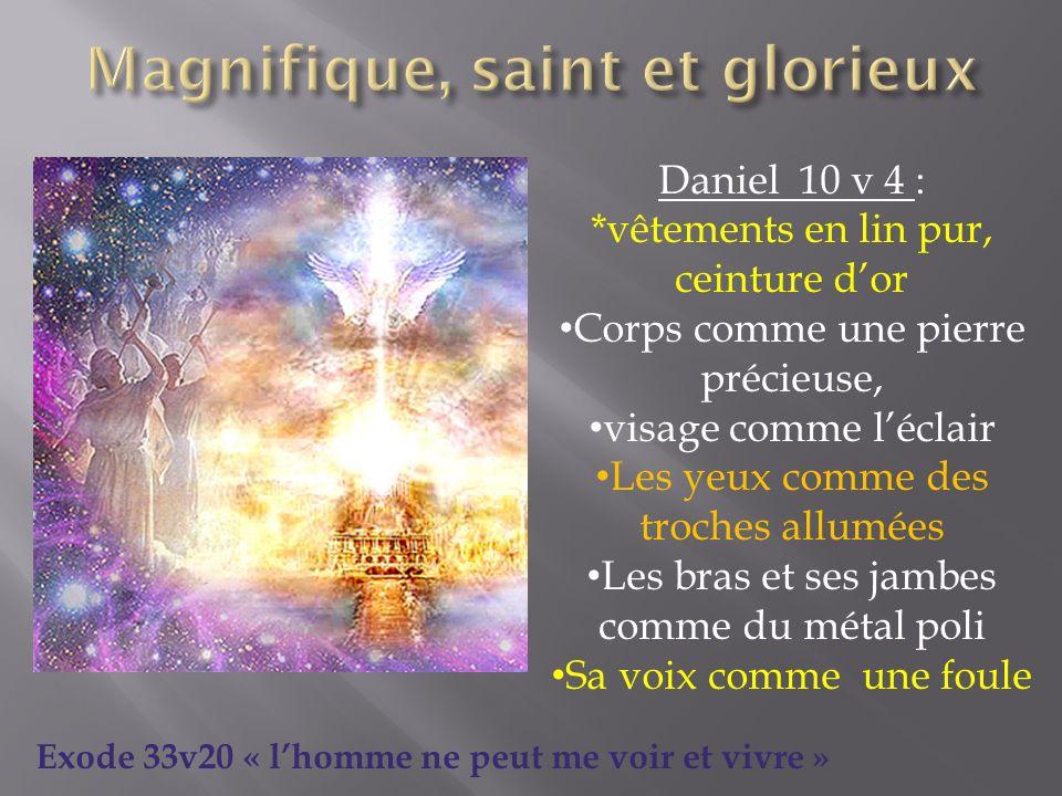 Daniel 10 v 4 : *vêtements en lin pur, ceinture dor Corps comme une pierre précieuse, visage comme léclair Les yeux comme des troches allumées Les bra