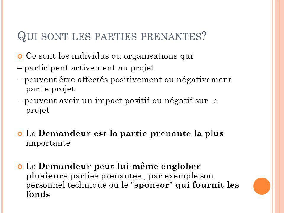 Q UI SONT LES PARTIES PRENANTES ? Ce sont les individus ou organisations qui – participent activement au projet – peuvent être affectés positivement o