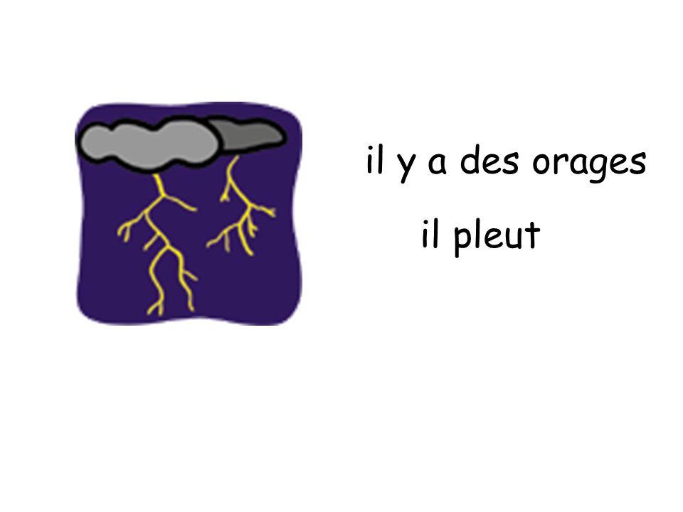 il y a des orages il pleut