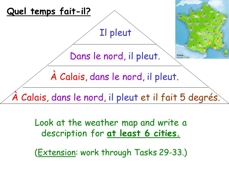 Il pleut Quel temps fait-il? Look at the weather map and write a description for at least 6 cities. (Extension: work through Tasks 29-33.) Dans le nor