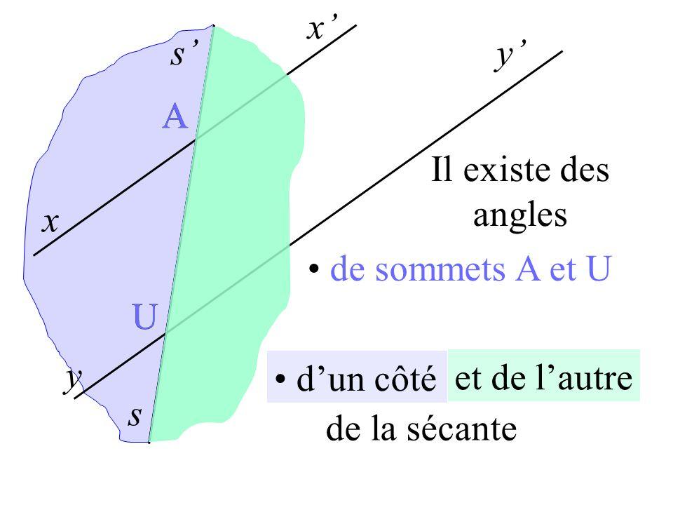 x s x y y s A U à lintérieur des parallèles de sommets A et U dun côté et de lautre de la sécante A U Il existe des angles