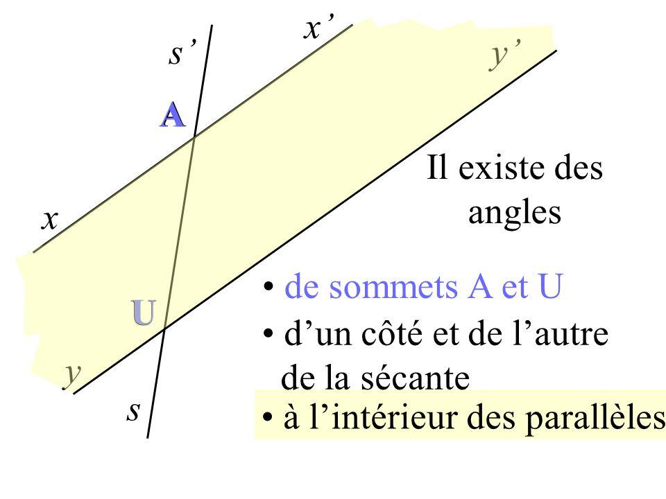 x s x y y s A U à lintérieur des parallèles dun côté et de lautre de la sécante xÂs et sÛy sont alternes-internes A U autre intérieur xÂs et sÛy sont
