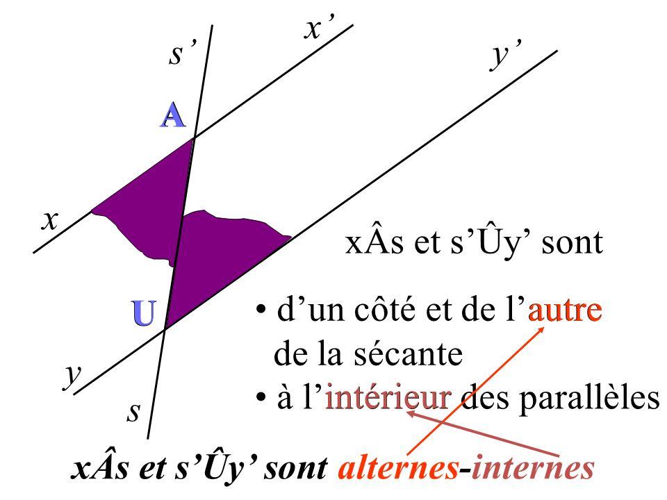 x s x y y s A U A U I I est le milieu de [AU] Dans la symétrie de centre I A U (ss) (xx) (yy) xÂs sÛy 2 angles alternes-internes sont égaux.