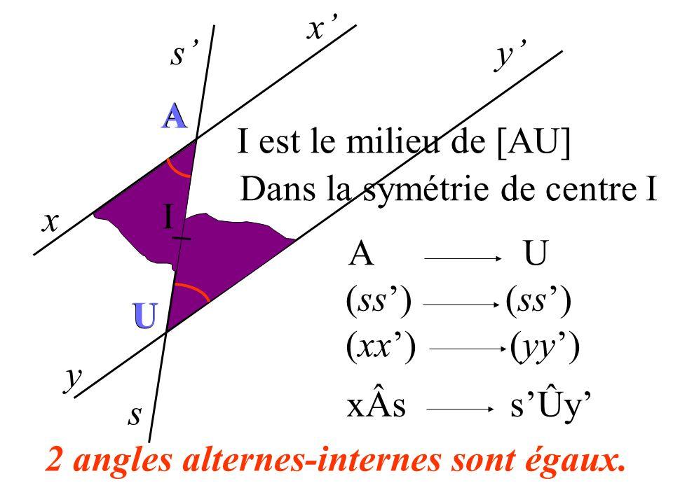 x s x y y s A A U Il existe 2 autres angles alternes-internes sÂx = yÛs U