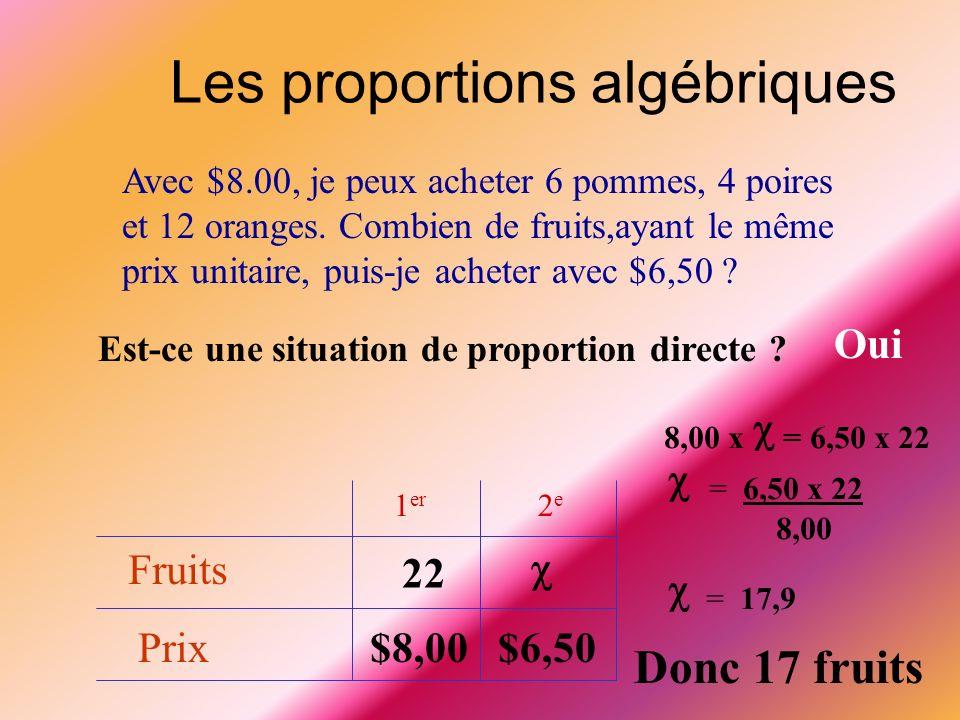 Les proportions algébriques Un enfant mesure 90 cm à 8 ans. Combien mesurera-t-il à 24 ans ? Est-ce une situation de proportion directe ? Non Pourquoi