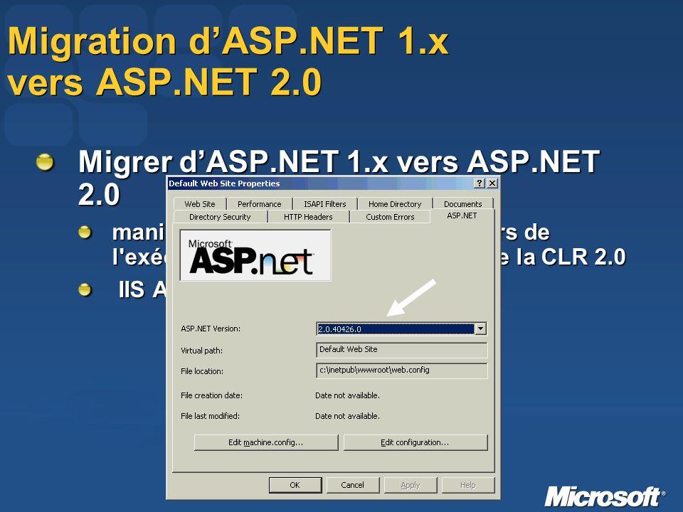 Migration dASP.NET 1.x vers ASP.NET 2.0 Migrer dASP.NET 1.x vers ASP.NET 2.0 manipulation traditionnelle au travers de l exécutable « aspnet_regiis.exe » de la CLR 2.0 IIS Admin Tool IIS Admin Tool