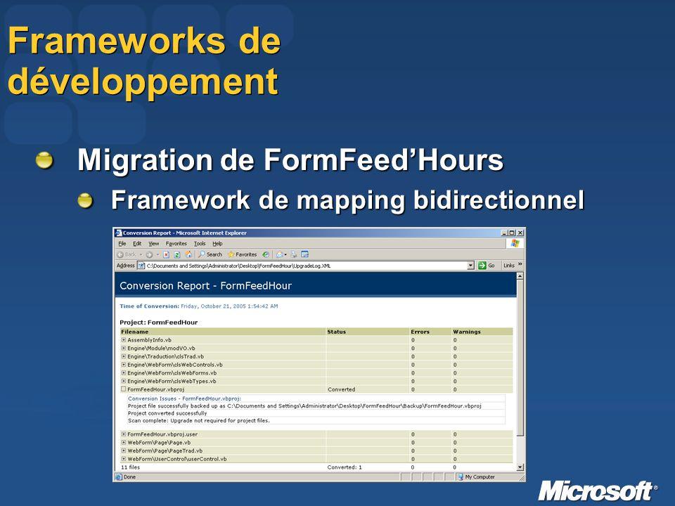 Frameworks de développement Migration de FormFeedHours Framework de mapping bidirectionnel