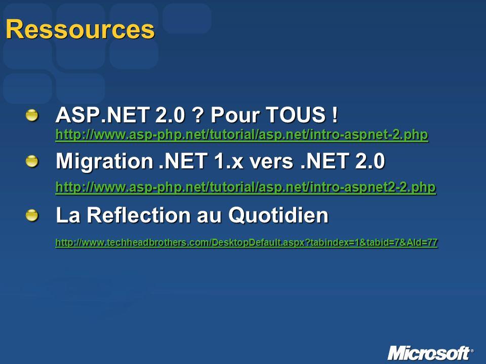 Ressources ASP.NET 2.0 . Pour TOUS .