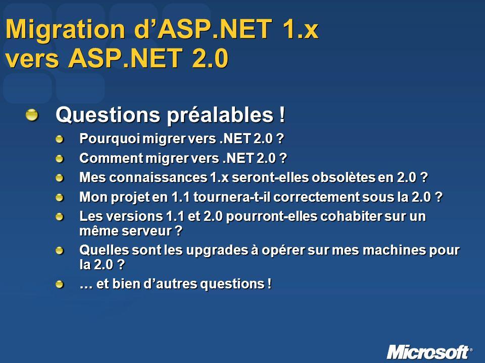 Migration dASP.NET 1.x vers ASP.NET 2.0 Questions préalables .