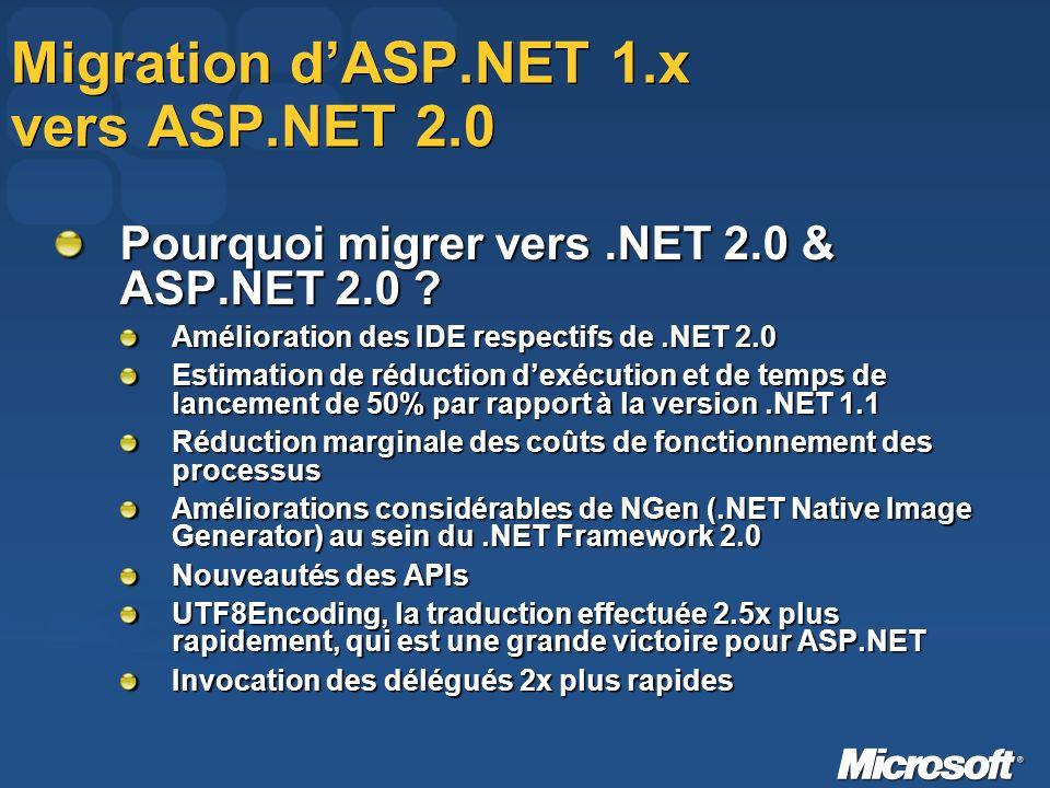 Migration dASP.NET 1.x vers ASP.NET 2.0 Pourquoi migrer vers.NET 2.0 & ASP.NET 2.0 .