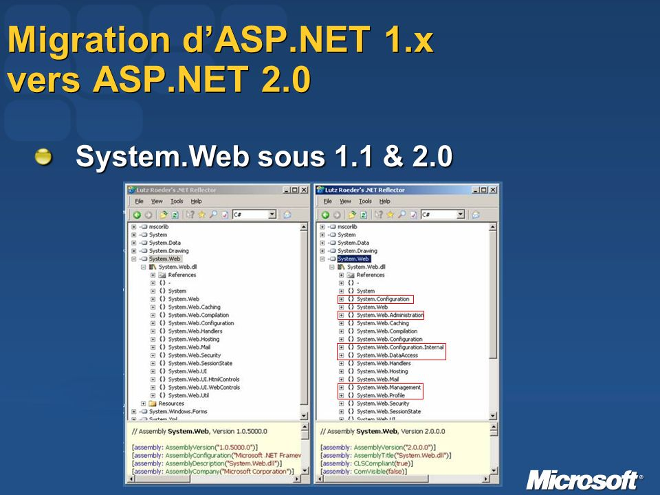 Migration dASP.NET 1.x vers ASP.NET 2.0 System.Web sous 1.1 & 2.0
