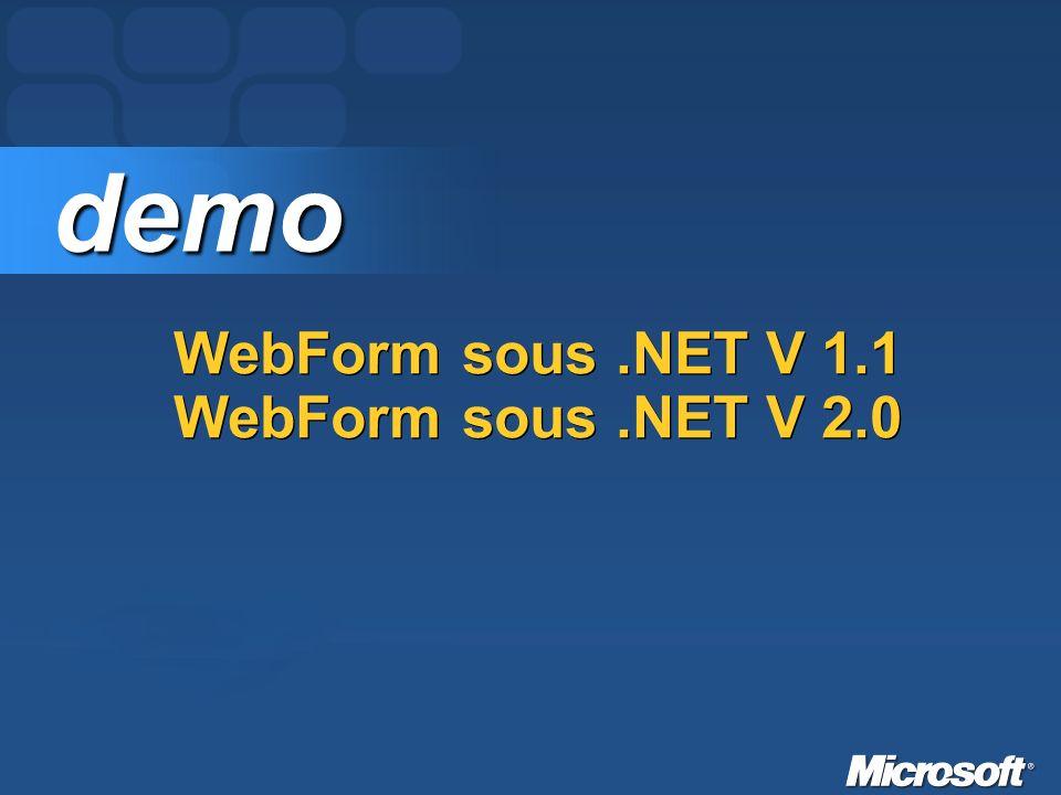 Migration dASP.NET 1.x vers ASP.NET 2.0 Types de migrations (~conversion) Migration partielle Exécution de lassembly 1.1 sous la CLR 2.0 sans recompilation de lexécutable Evolution de linterface utilisateur vers la version 2.0, lassembly restant en Version 1.x Recompilation des classes métier des assemblies référencées en 2.0 ces différents cas de figures ne sont qu une solution transitoire et que notre objectif à terme est de devoir migrer lintégralité sous la CLR 2.0.